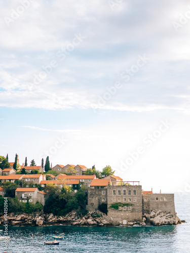 Canvas Prints Athens Island of Sveti Stefan close up at sunset. Montenegro, the Adriatic Sea, the Balkans.