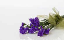 Purple Statice Flower With Ribbon.