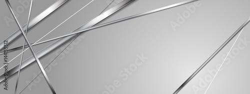 Fotografía  Metallic silver stripes abstract banner design