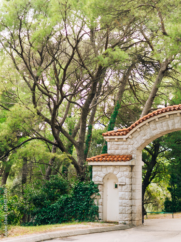 Stone Gate With A Tiled Roof In The Forest Handmade Exterior Design Elements Buy This Stock Photo And Explore Similar Images At Adobe Stock Adobe Stock