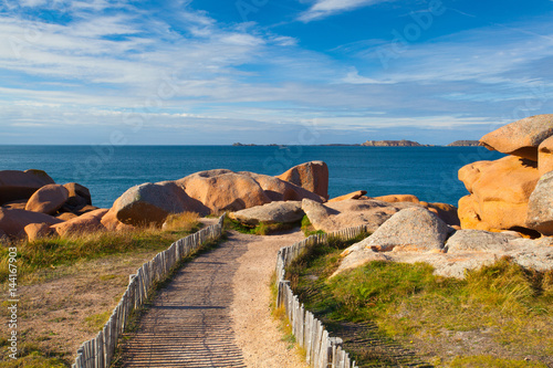 Poster Cote Pink Granite Coast in Brittany , France.
