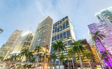 Miami, FL. City Streets At Sunset