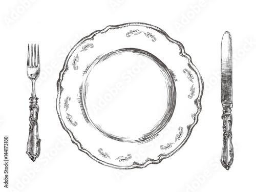 皿とナイフとフォークイラスト Fototapet