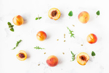 Fresh Peaches. Sliced Peaches On White Background. Flat Lay, Top View