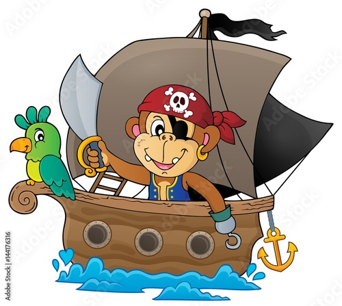 Foto op Canvas Piraten Boat with pirate monkey theme 1