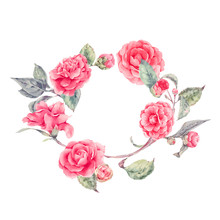Vector Lace Wreath With Camellia Flowers