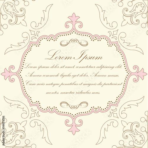 Papiers peints Affiche vintage Wedding invitation and announcement card with floral background artwork. Elegant ornate floral background. Floral background and elegant flower elements. Design template.