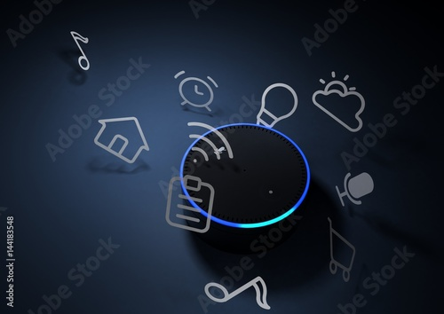 Valokuva  3d rendering of Amazon Echo voice recognition system