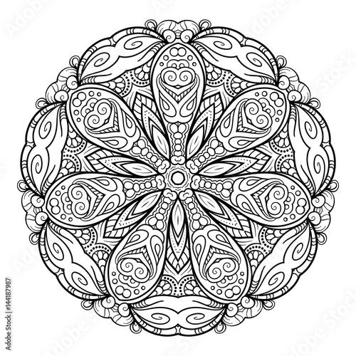 Fototapeta Wektorowy abstrakcjonistyczny czarny i biały mandala wzór.