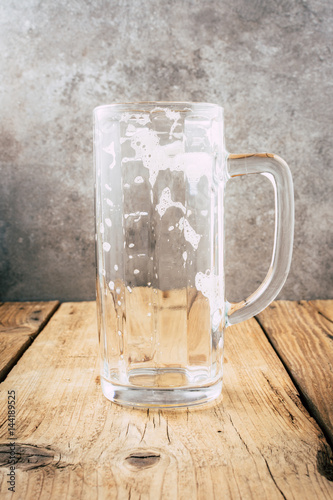 Empty Beer Mug On Wooden Table Wallpaper With Copy Space