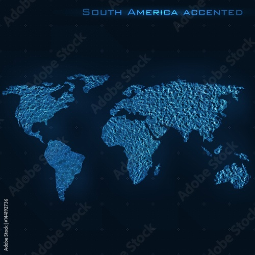 World abstract map  South America accented  Vector