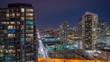 Panning CN Tower Toronto Night Time Lapse Gardiner Expressway 4K 1080P