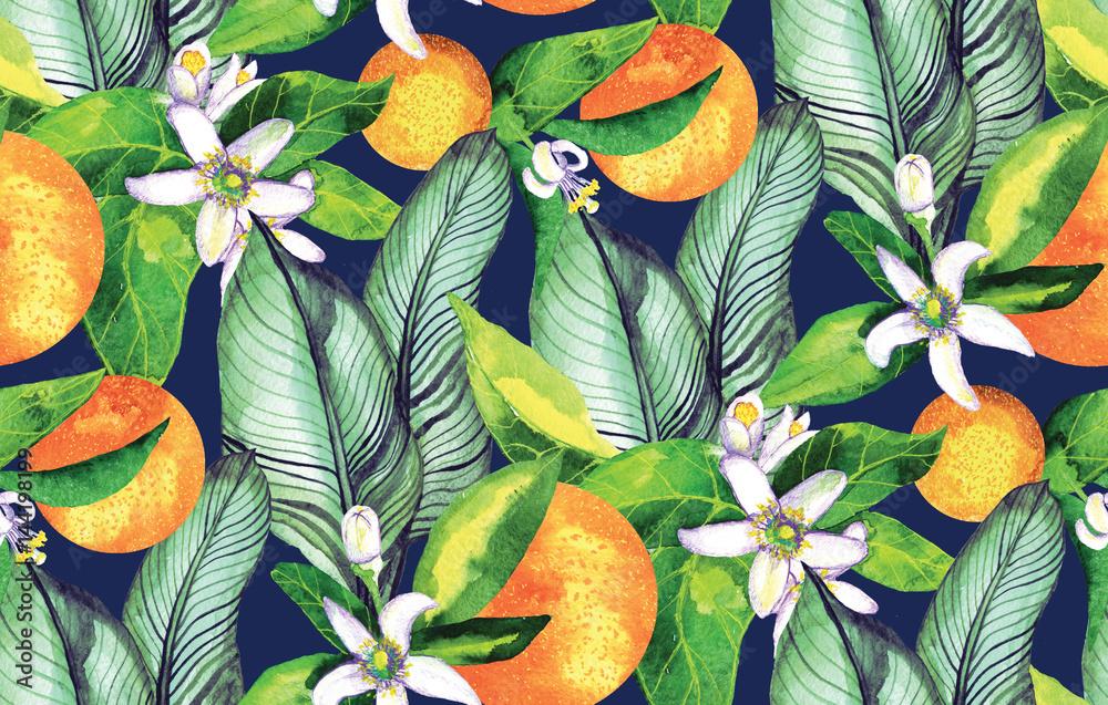 Wzór. Kwitnąca pomarańcza. Kwiaty neroli. akwarela pomarańczowy. Tropikalny Wzór