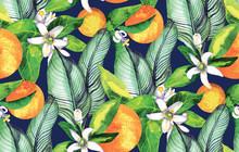 Seamless Pattern. Blooming Orange. Flowers Neroli. Watercolor Orange.  Tropical Pattern
