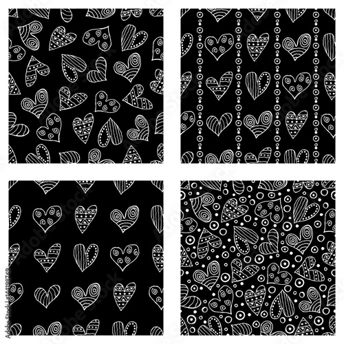 Recess Fitting Pattern Set of seamless vector patterns with hearts. Background with hand drawn ornamental symbols and decorative elements. Decorative repeating ornament. Graphic illustration.Series of Love Seamless Patterns