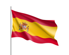Flag Of Spain Country With Coat Of Arms. Patriotic Sign In Official Colors: Red And Yellow. National Symbol Of Sounhern European State. Vector Illustration