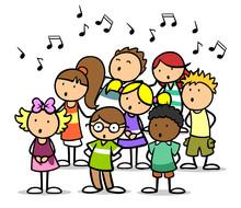 Cartoon Kinder Singen Im Chor ...