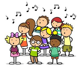 Fototapeta Cartoon Kinder singen im Chor in Musikschule
