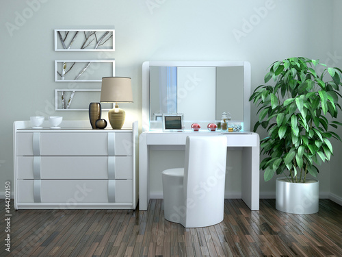 Fotografia White dressing table with a chest of drawers in the interior in the Art Nouveau style