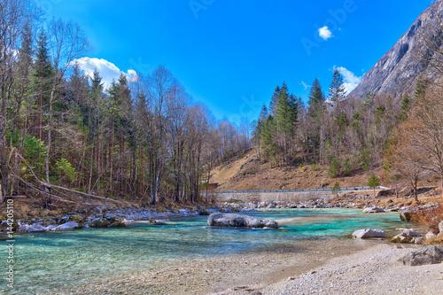 Foto op Aluminium Oost Europa Im Nationalpark Triglav in Slowenien, Osteuropa, mit klaren eisblauen Gletscherflüssen und den mächtigen Gebirgsketten der Julischen Alpen und der Karawanken strahlt die erwachende Natur im Frühling