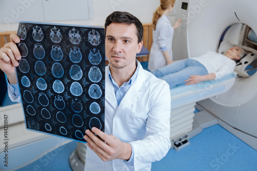 Obraz Handsome male oncologist working in the medical lab - fototapety do salonu