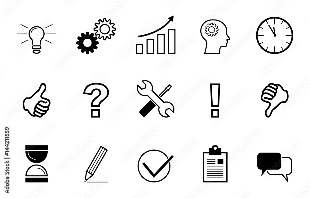 Fototapeta Business - Icons zum Thema Kreativität (in Schwarz)