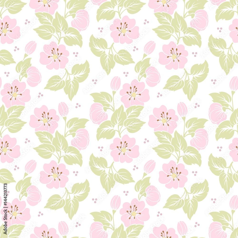 Contour Cut Stickers Vector Flower Seamless Pattern Background