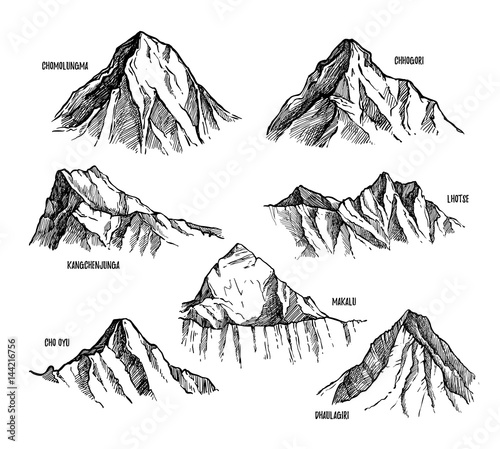 Canvas Print Highest mountains of Himalaya, Nepal hand drawn set vector illustration