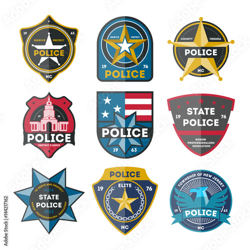 Police Department Badge Set Isolated On White Background Vector
