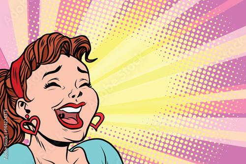 mloda-kobieta-smieje-sie-plakat-w-stylu