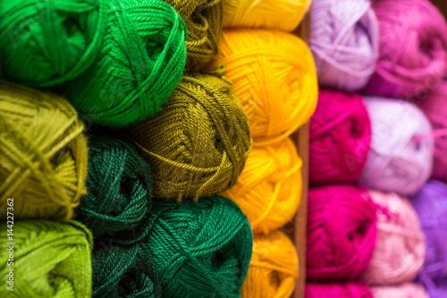 Fotografia, Obraz closeup of colorful wool yarn balls