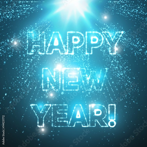 abstract vector happy new year background explosion of glowing particles and light rays futuristic