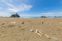 A Huge Sandy Beach With Large Stones.  Redwood National And State Parks. California, USA