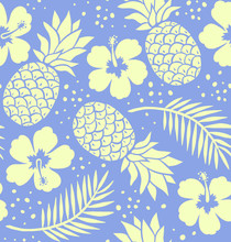 Seamless Pineapple And Hibiscus Pattern. Navy Blue.