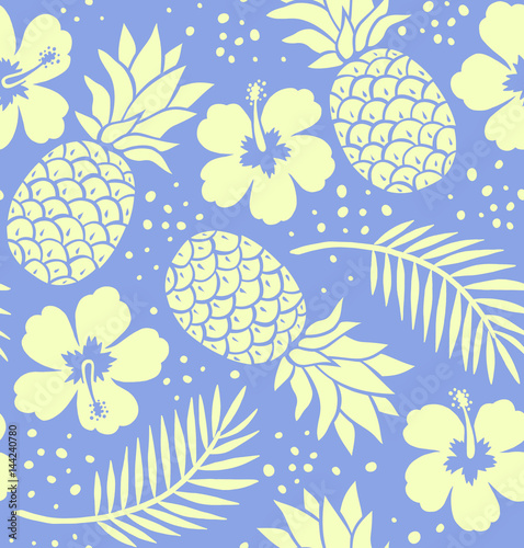 Valokuva  Seamless pineapple and hibiscus pattern. Navy blue.