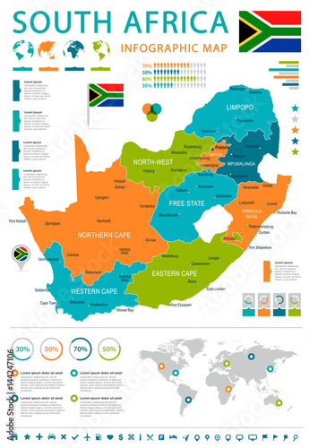 Photo South Africa - map and flag - illustration
