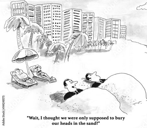 Fotografia, Obraz  Business cartoon showing two business men buried in the sand.