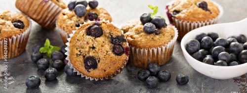 Fotografie, Obraz  Vegan banana blueberry muffins