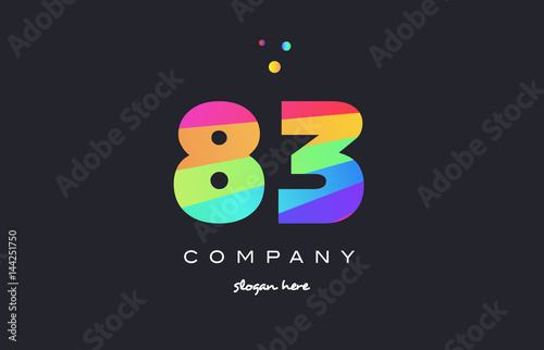 Fotografia  83 eighty three colored rainbow creative number digit numeral logo icon