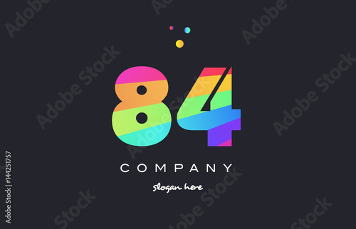 Fotografia  84 eighty four colored rainbow creative number digit numeral logo icon