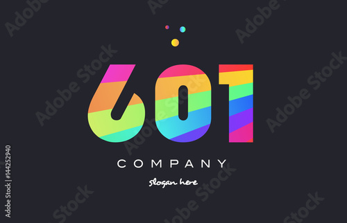 Fotografia  601 colored rainbow creative number digit numeral logo icon