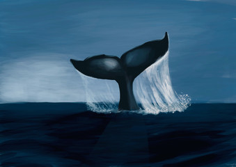 FototapetaFin of a humpack whale- Digital Painting