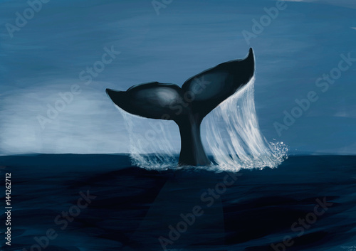 Fin of a humpack whale- Digital Painting - 144262712