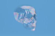 Bubble Skull On Blue Backgroun...