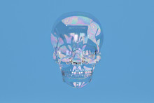 Bubble Skull On Blue Backgroun...