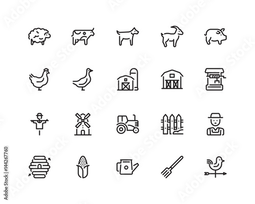 Fotografia, Obraz  Farming icon set, outline style