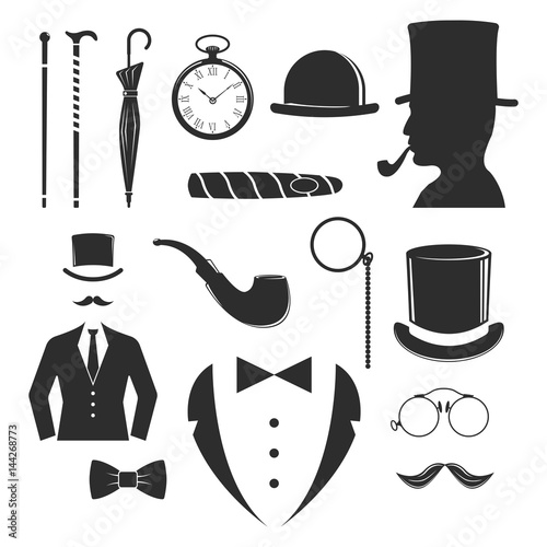 Cuadros en Lienzo Vintage style design hipster gentleman vector illustration black silhouette design mustache element