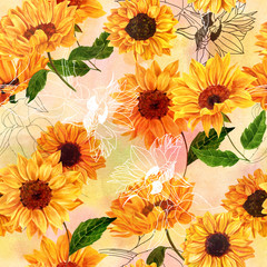 Obraz Seamless pattern with hand drawn watercolor sunflowers