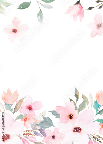 Watercolor floral template for wedding cards, invitations, Easter, birthday