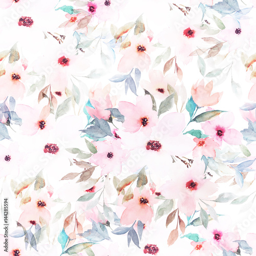 Watercolor seamless pattern. Floral print